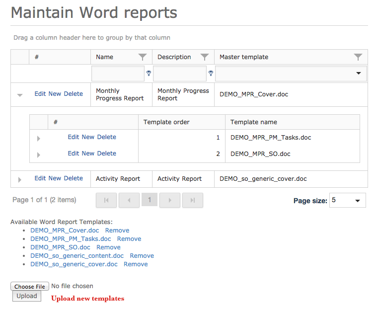 22 Reporting Word report templates menu StratEx